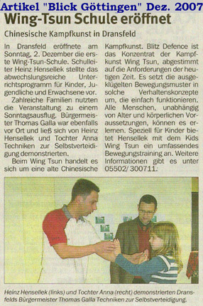 WingTsun Schule Dransfeld eröffnet
